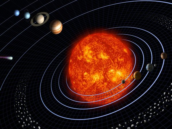 The comparative size of the Sun and other planets