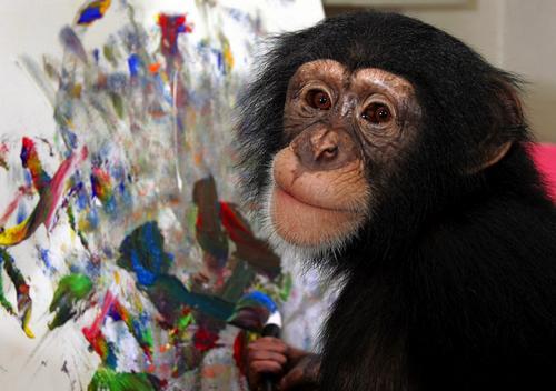 обезьяна рисует