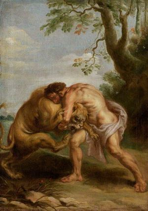 Hercules fights with a lion