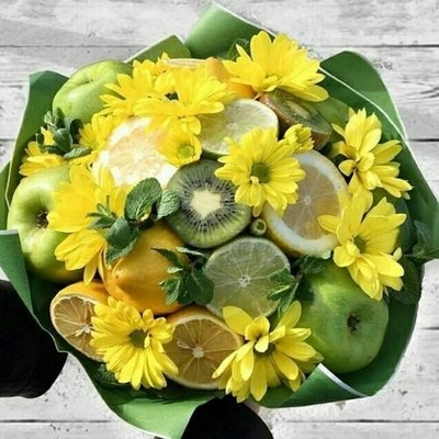 комбинации цветов и фруктов
