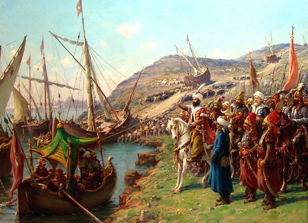 Sultan Mehmed II oversees the transport of his ships