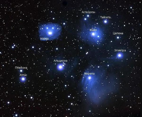 The main stars of the Pleiades cluster