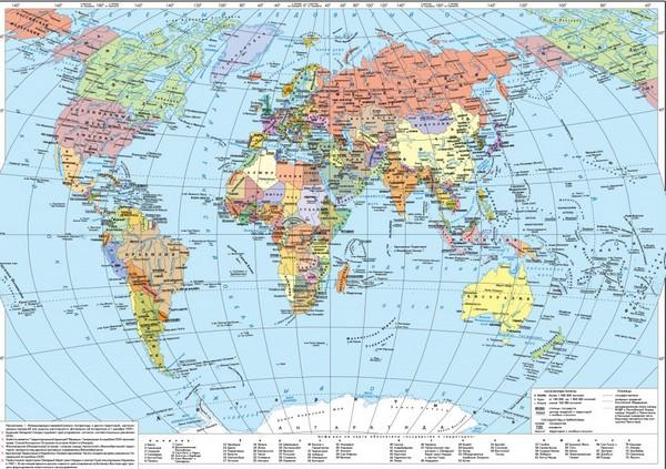 карта мира с меридианами и параллелями